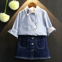 Wholesale Child shirt autumn children s clothing male female child solid color shirt cartoon pineapple rabbit embroidery stripe top
