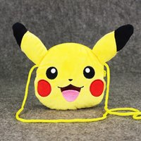 Wholesale 10pcs Cute Pikachu Plush Bag Kawaii Pikach Money Bag Anime Coin Collector cm Pikachu Change Poket Mini Backpack