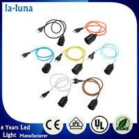base cable - E27 E26 M Fabric Cable Edison Pendant Lamp Retro Vintage Industrial Filament Light Bulb Holder Socket Base EU Plug V