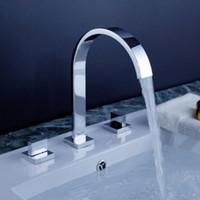 Wholesale Chrome brass basin faucet quot Wide Spread install Bathroom Basin Faucet Set Bathtub Mixer Tap G4254