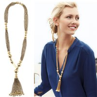 african trade beads - X215 selling foreign trade big luxury fashion long necklace beads tassel sweater chain