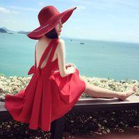 Wholesale 2016 FASHION summer new V neck backless bow accept waist halter dress big swing