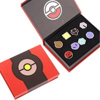 Wholesale New Children cartoon Poke Metal Badge Brooch toys Style Zinic Alloy Brooch poke Action Figures Anime set with box toy B0432