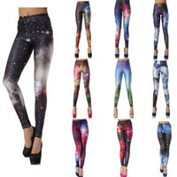 achat en gros de impression jeggings sexy des femmes-Legging Femme Leggings colorés Galaxy Print Leggings Sexy Jeggings Jeans Pantalons imprimés Sports Leggings Lady Fitness Stretch Pantalons
