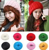 Wholesale New Warm Winter Women Girl Beret Braided Knit Crochet Chic Beanie Hat Ski Cap