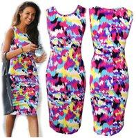 Wholesale Short Sleeve Maxi Dress Pattern - New Women Celeb Printed Pencil Dresses Sleeveless Casual Bodycon Sexy Maxi Vestidos Spring Floral Pattern Mid Beach Dress