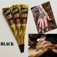 Wholesale 6pcs Golecha Black Indian Henna Tattoo Paste cone Body Art temporary fake finger tattoo henna design body paint kit g