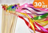 Wholesale Wedding Color Ribbon Wands Wedding Confetti Stream Ribbon Sticks Wands with Bells Metal End JCO RA02