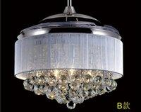 Wholesale 42inch ABS transparent ceiling fan lights restaurant Crystal fan lamp ceiling fan luxury living room folding fan light