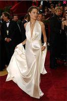 angelina dress oscar - Angelina jolie Oscar Academy Awards ceremony dress red carpet dress sexy satin V V neck unbacked plait ruffle formal evening dress