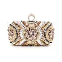 beaded diamond ring - 2016 European and American heavy beaded evening bag high grade diamond ring clutch evening bag bride