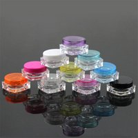 Wholesale 1000pcs Multi Colors cc ml g Square Bottom Plastic Cream Jar Cosmetics Container Display Sample Jars