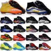 al por mayor hypervenom-Nuevos 2016 zapatos para hombre Mercurial Superfly CR7 FG Tacos de fútbol Magista Obra fútbol al aire Champions League Fútbol Botas Hypervenom II Tacos