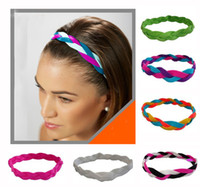 athlete women - Mix colors Colorful Braided Mini Sports Headbands Woman Girl Soft Nylon Silicone headband keep the elasticit band for athletes N200