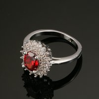 Wholesale Silver Red Ruby Diamond Ring - 18k White Gold Plated Jewelry Red CZ Diamond Stone Flower Design Rings for Women Bridal Wedding