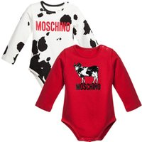babies cow milk - New Newborn Cattle Onesies Clothing Baby Boys Milk Cow Red Cotton Cilmb Outfits Autumn Kids Girls Long Sleeve Triangle Rompers