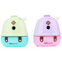 Wholesale Lovely Cartoon Shcool Bag Shape Pencil Sharpener Pencil Knife For Home Office School Stationery Supplies