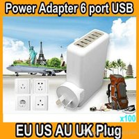 adapt cell phones - 6 Port USB Wall Travel Charger Adapter Convertible US EU AU UK Plug Adapted For iPhone MP3 MP4 And Other Universal Cell Phone OM WC3