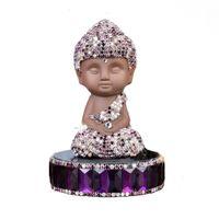 Wholesale 2016 Black Ceramic charming Crystal Diomands Buddha Car Perfume Holder Round Bottom Buddha D Handmade Ornaments