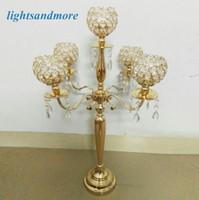 Wholesale 6pcs arm D45 H78cm golden silver color crystal candelabra candlestick decorative wedding centerpieces for event decoration