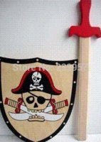 Wholesale Wooden toy s authentic pirate sword shield combined boy toy can through the European test standard oh