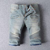 bermuda jeans shorts - men cargo shorts bermuda homme fashion balmain shorts for men Washed denim short men jeans shorts Plus size
