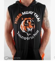 Wholesale Tiger Thai boxing hall of recreational sports black sleeveless hoodie Fighting Fighting