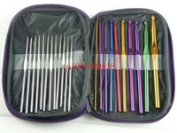 Wholesale Fedex DHL set Aluminum Crochet Hooks Knitting Needles Knit Weave Stitches Craft Case set
