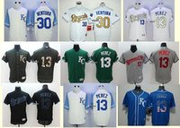 Wholesale Men s Yordano Ventura Salvador Perez Black White Grey Blue Green Kansas Royals City Baseball jerseys Top Quality Drop Shipping Cheap