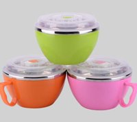 Wholesale Stainless Steel Noodles Bowl Heat Insulation Soup Bowl Double Layer Children s Bowl With Handle