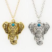 antique elephants - Pendant Necklace Women Boho Antique Necklaces Pendants Ethnic Turquoise Elephant Choker Necklace Chain Necklaces