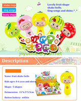 Electronic > 3 years old Children's Day baby toys lovely fruit shape kids shake bells ring songs within button battery free shipping shape random shippment for 1 piece