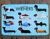 Wholesale 2016 Tin Poster Wall Sticker Stickers Lovely Dachshund Dog Posters Decorative Sheet Painting Crafts And Gifts