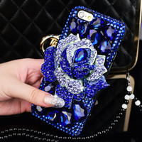 big plus card - Pink Blue Flower Big Diamond Leather Wallet Case Bluelover Blue Enchantress Bling Rhinestone Cover For iPhone s Plus S