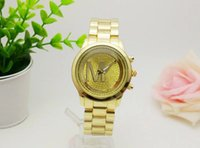 Wholesale Popular Fashion M brand watches Stainless steel Gold luxury Casual wristwatches Men Women quartz watch freeshipping rose gold silver watches