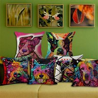 best chair cushion - Best Price Colorful Animal Graffiti Dog Pillowcase Cushion Sofa Decoration Gift Birthday Bedding Outdoor Chair Home
