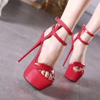 Boda de la sandalia del tacón alto cm España-16 cm de alto zapatos de tacón de más tamaño atractivo zapatos rojos de la boda las mujeres sandalias de plataforma desgaste del club del partido 34 a 40