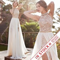 long prom dresses - 2016 Sexy New Halter Lace Chiffon Long Prom Dresses Illusion Beaded Crystals Applique Split Backless Floor Length Summer Beach Evening Gowns
