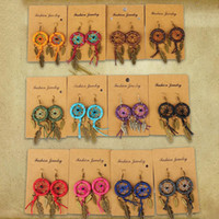 Wholesale New Unique Earrings for women Ethnic Dreamcatcher bronze earrings Wax line leaf pendant earrings