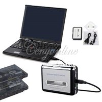 Wholesale Top Quality USB2 Portable Tape to PC Super Cassette To MP3 Audio Music CD Digital Player Converter Capture Recorder Headphone