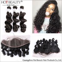 Wholesale Brazilian Loose Wave Pre Plucked Lace Frontal Closure With Hair Bundles x4 ear to ear lace frontal hot beauty hair