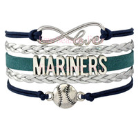 baseball team sets - Custom Infinity Love Seattle MARINERS Baseball Sports MLB Team Bracelet Sports friendship Wax Cords Leather Wrapped Bracelet Drop Shipping