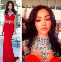 apple coral jewelry - High Neck Gorgeous Crystal Evening Gowns Arabic Dubai Elegant Beaded Cap Sleeves Jewelry Sheath Long Formal Dresses Robe Soiree