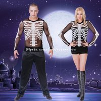 Wholesale DHL Halloween Costumes Couple Skeleton Vampire Demon Stage Party Skeleton Performance Costume Performance new