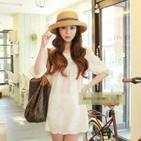 Wholesale Curl Fashion Style - Summe Korean Fashion Wholesale Beach Hat Korean Foldable Curling Hat Butterfly Style Decoration Noble Lady's Retro Mood Sunhat Wide Brim Hat