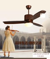 Wholesale American restaurant fan ceiling light fan European retro bedroom inch with LED Fan light ceiling living room remote control