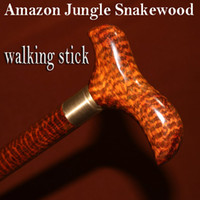 Wholesale The hardest wood Amazon jungle Snakewood walking stick trekking hiking cane for outdoor or old man stun gun pepper spray