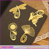 Wholesale Metal Bookmark Vintage butterfly flowers feather Bookmark Paper Clip for Book Mark Notes Mix Style