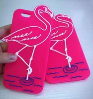 apple crane - Lovely Pink Red Crowned Crane Soft Silicon Rubber Phone Case For iphone s plus s plus Summer Cool Fashion phone Back Cover