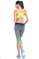 Wholesale Women yoga fitness capri pants crossfit gradient trousers leggings sports elastic dry quick clothing mallas running mujer